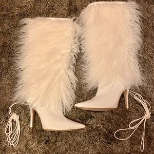 Shoes - Strappy Fur Heeled Boots.